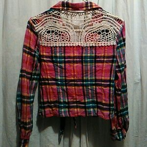Other - Plaid button front top#crochet back
